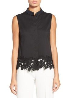 Elie Tahari Lace Hem Sleeveless Shirt