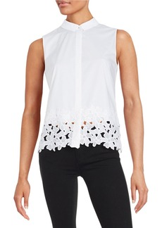 ELIE TAHARI Lace Trim Blouse