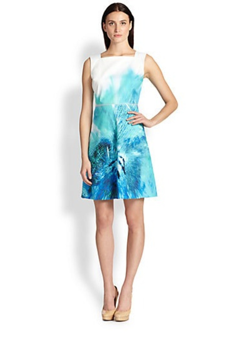 Elie Tahari Leather-Trimmed Print Dress