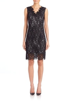 Elie Tahari Naya Lace-Overlay Dress