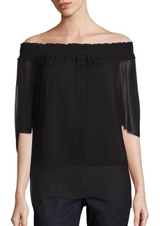 Elie Tahari Off-the-Shoulder Silk Top