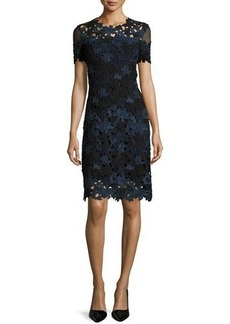 Elie Tahari Ophelia Short-Sleeve Lace Sheath Dress  Ophelia Short-Sleeve Lace Sheath Dress