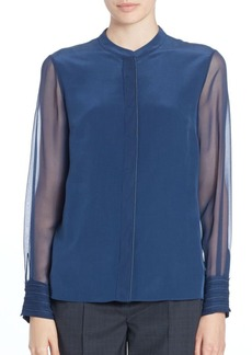 Elie Tahari Rachel Cuff-Detail Long-Sleeve Blouse