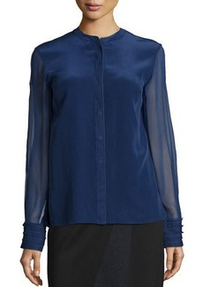 Elie Tahari Rachel Sheer-Sleeve Blouse