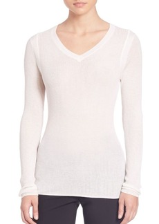 Elie Tahari Remmi Luxe Knit V-neck Top