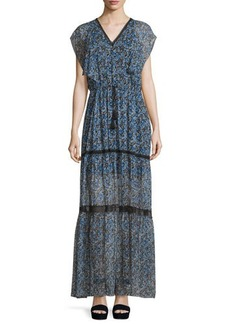 Elie Tahari Sanna Drawstring-Waist Tiered Maxi Dress  Sanna Drawstring-Waist Tiered Maxi Dress