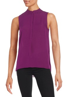ELIE TAHARI Semi-Sheer Hi-Lo Blouse