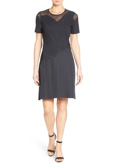 Elie Tahari 'Tanner' Appliqué & Mesh Detail A-Line Dress