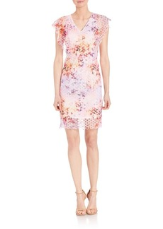 Elie Tahari Telene Cotton Flutter Sleeve Dress