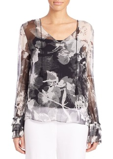 Elie Tahari Tsipora Printed Ruffled-Sleeve Top