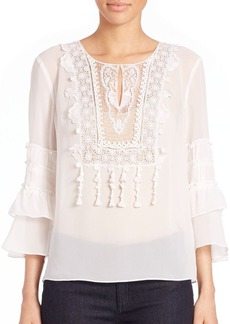 Elie Tahari Una Embroidered Ruffle Blouse