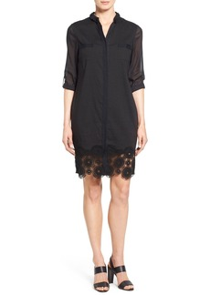 Elie Tahari 'Vega' Lace Hem Linen Blend Shirtdress