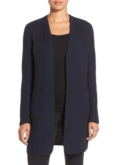 Elie Tahari 'Wanda' Piped Detail Open Front Car Coat