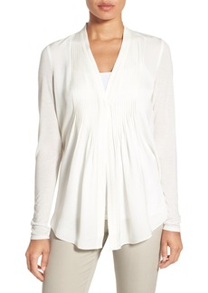 Elie Tahari 'Willow' Knit Sleeve Silk Blouse