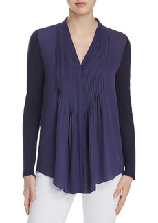 Elie Tahari Willow Pintuck Mixed Media Blouse