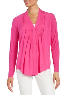 ELIE TAHARI Willow Pintucked Silk-Blend Blouse