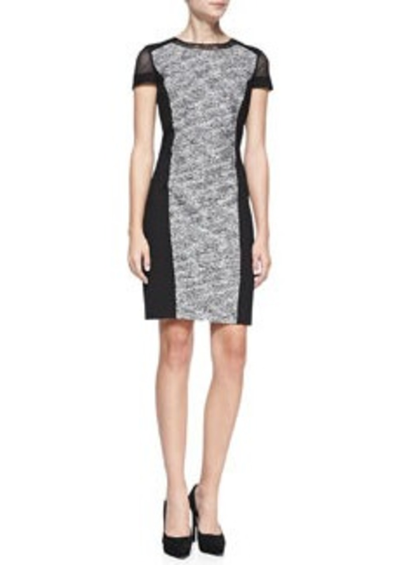 Elie Tahari Jaylene Ponte-Panel Tweed Sheath Dress   Jaylene Ponte-Panel Tweed Sheath Dress