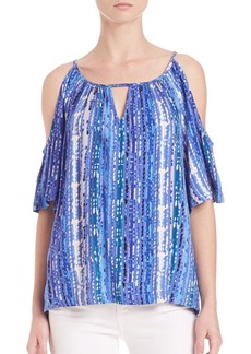 Ella Moss Inka-Print Cold-Shoulder Top