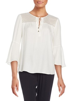 Ella Moss Lace-Detail Bell-Sleeve Top