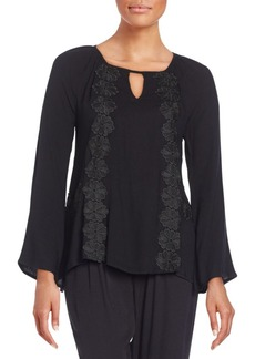 Ella Moss Lace-Trimmed Peasant Top