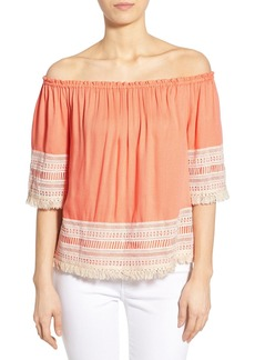 Ella Moss 'Lilita' Macramé Trim Off the Shoulder Top