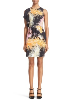 Emilio Pucci Feather Print Ruffle Shoulder Jersey Dress