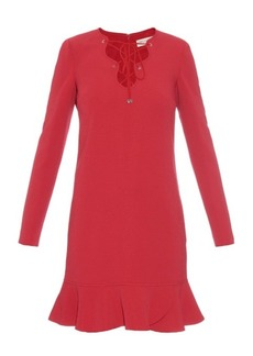 Emilio Pucci Lace-up ruffle-trimmed cady dress