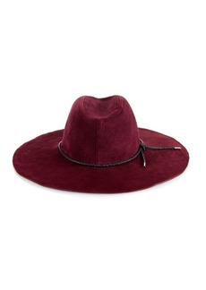 Emilio Pucci Woven-leather trim suede hat