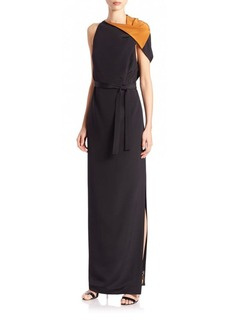 Etro Asymmetrical Silk Two-Tone Gown