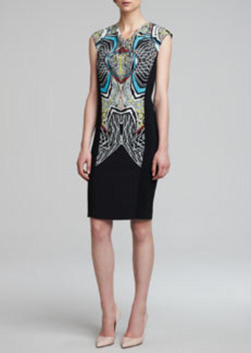 Etro Drape-Neck Sleeveless Sheath Dress, Black/Multicolor