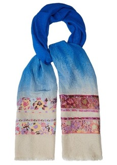 Etro Floral-embroidered silk-blend jacquard scarf
