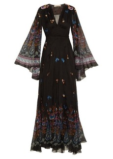 Etro Flower-print embroidered gown