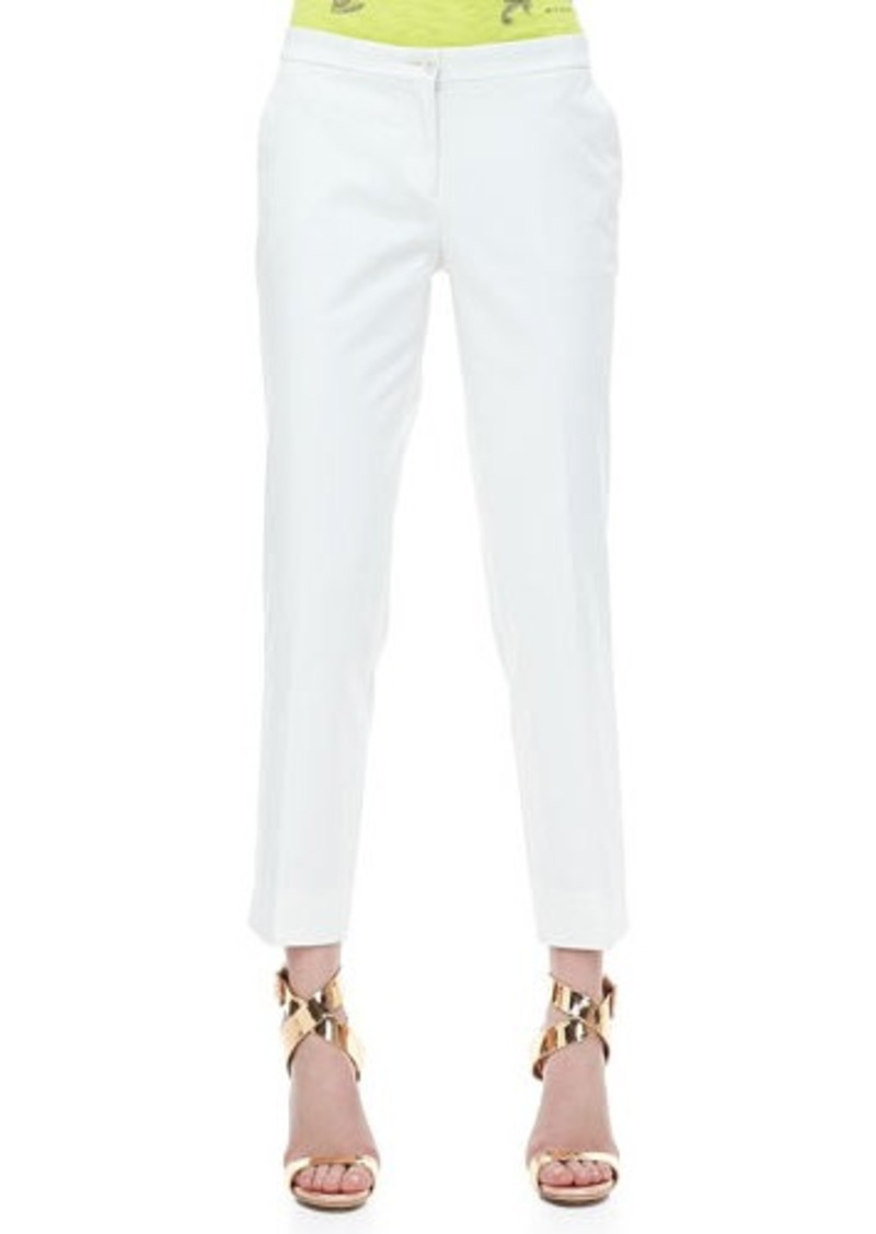 Etro Front-Closure Ankle Pants, White
