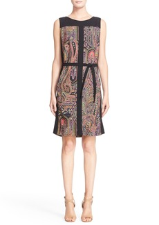 Etro Paisley Panel Wool Sheath Dress