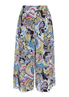 Etro Paisley-print wide-leg cropped silk trousers
