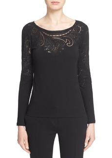 Etro Sheer Cutout Long Sleeve Top