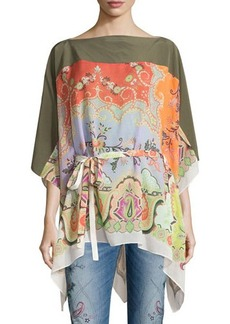 Etro Silk Paisley-Print Belted Poncho