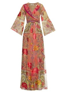 Etro V-neck floral-devoré silk dress