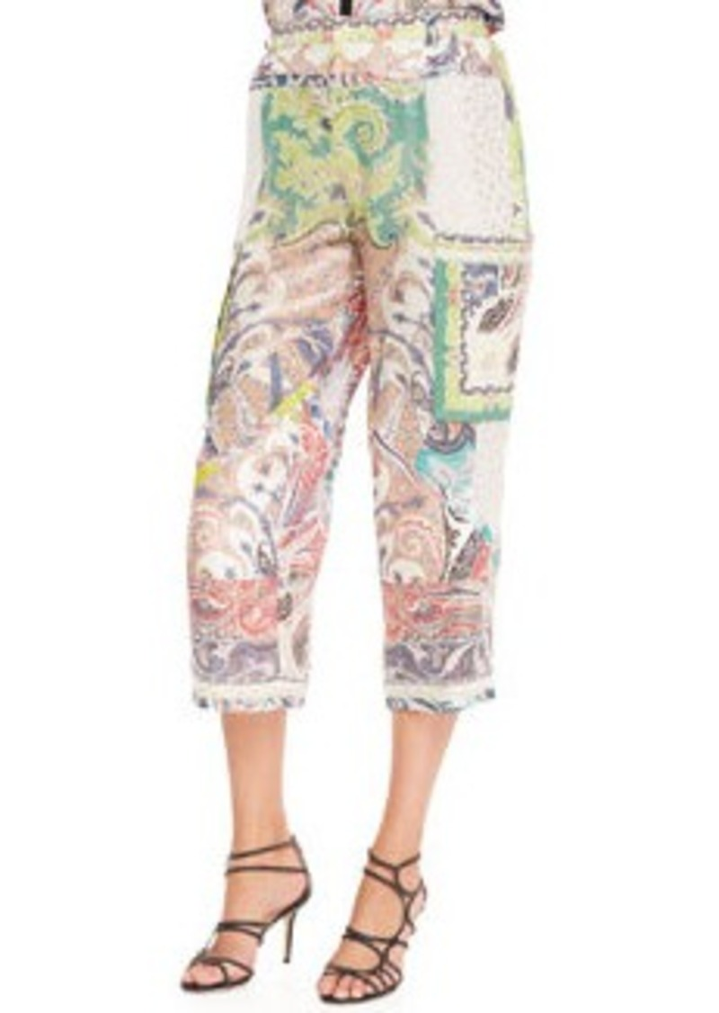 Etro Fern Paisley Patchwork Pants, White/Multi   Fern Paisley Patchwork Pants, White/Multi