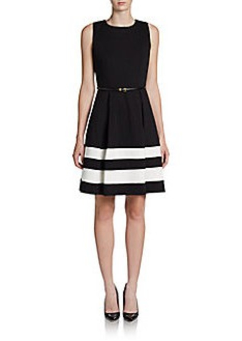 Calvin Klein Striped-Hem Pleated Dress