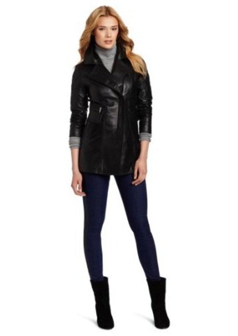 Laundry by Shelli Segal Women's Zip-Up Leather Jacket with Sleeve Patches