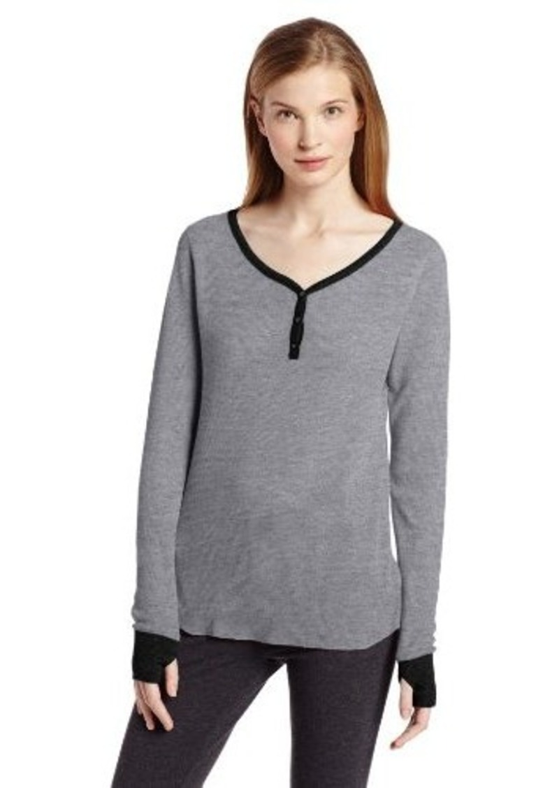 Jockey Women's Waffle Knit Henley Thermal Top