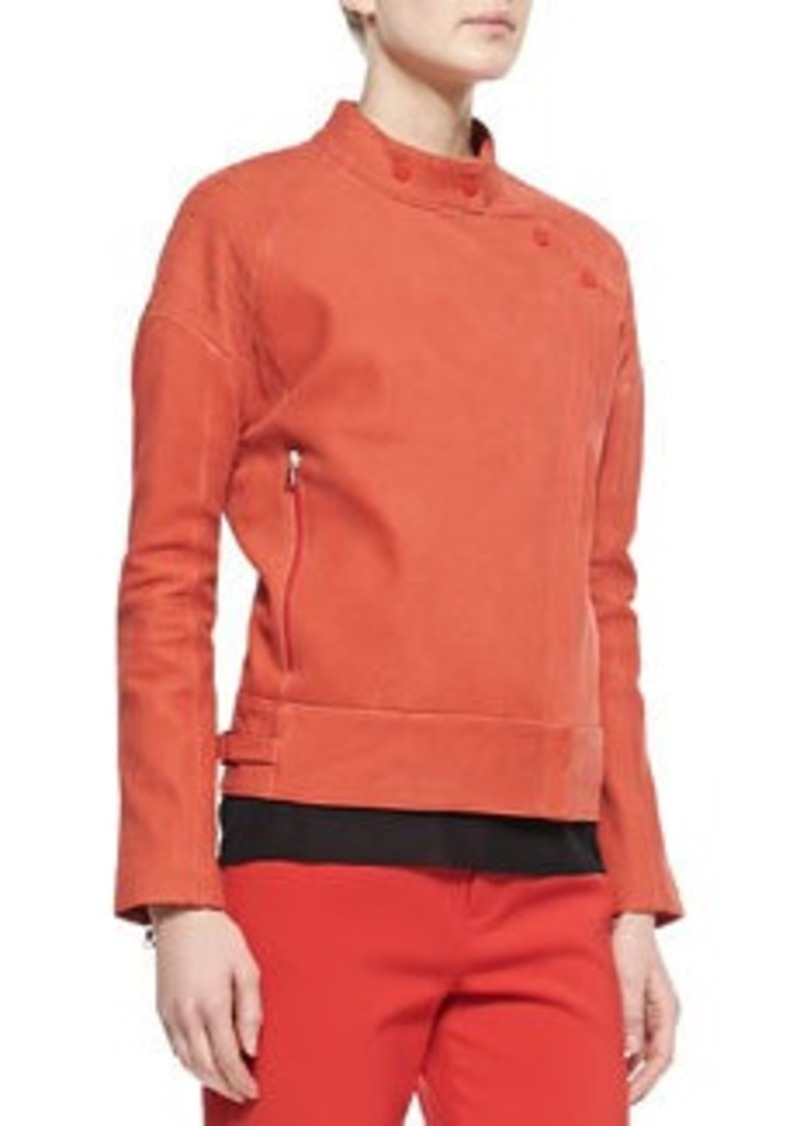 J Brand Goodall Asymmetric Snap Leather Jacket, Masai Red   Goodall Asymmetric Snap Leather Jacket, Masai Red