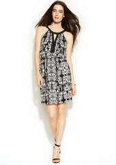 Alfani Graphic-Print Blouson Halter Dress