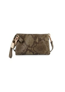 Foley + Corinna Cerberus Cache Snake-Embossed Leather Crossbody Bag