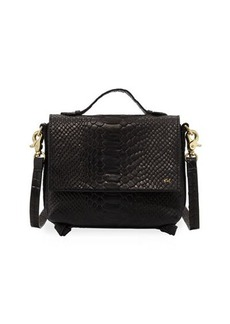 Foley + Corinna Gigi Snake-Embossed Leather Flap Crossbody Bag