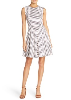 French Connection 'Bacongo' Dot Stretch Cotton Fit & Flare Dress