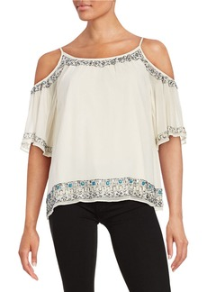 FRENCH CONNECTION Cold Shoulder Beaded Top