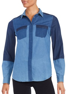 FRENCH CONNECTION Colorblocked Denim Long-Sleeve Shirt