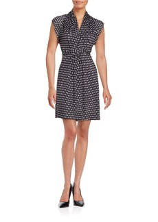 FRENCH CONNECTION Dotted V-Neck Self-Tie Dress